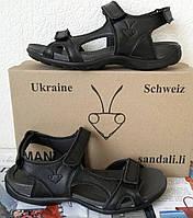 Mante класс! Сандалии летние для мальчиков и девочек из натуральной кожи босоножки черные, фото 1