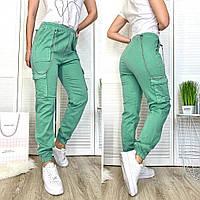 3054 Defile джоггеры карго женские зеленые весенние стрейчевые (S,S,M,L, 4 ед.), фото 1