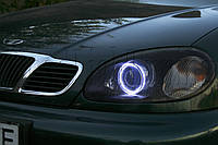 """DAEWOO Lanos - установка би-ксеноновых линз Moonlight EVO-2 +50% LIGHT и LED """"ангельских глазок"""""""