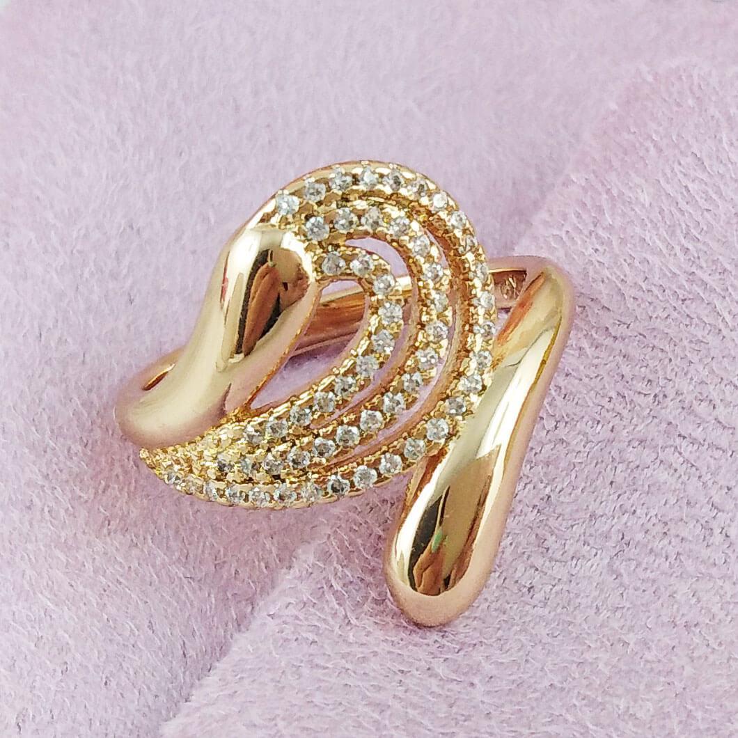 Кольцо Xuping Jewelry размер 20,5 Дайкон медицинское золото позолота 18К А/В 5728