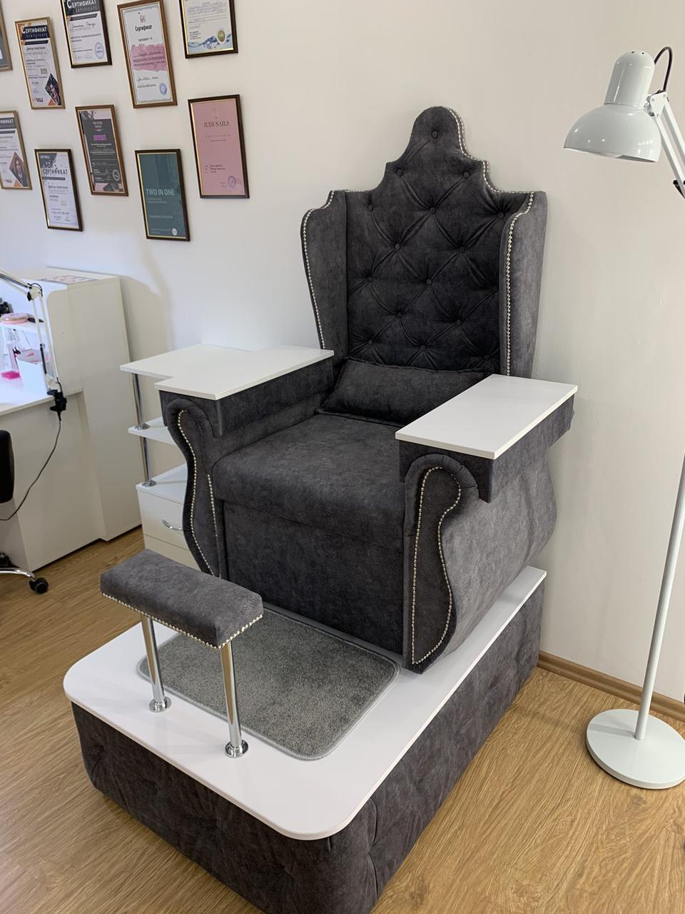Педикюрное кресло Трон Queen кресло для педикюра Велюр