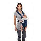 Эрго рюкзак-кенгуру для детей нагрудная сумка Chicco Soft & Dream Синий слинг шарф переноска для новорожденных, фото 5
