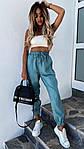 Женские штаны, костюмка летняя, р-р 42-44; 44-46 (бирюзовый), фото 3