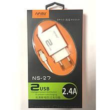 Зарядний пристрій NAISU NS-27 2 USB 2.4 A