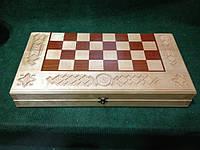 Шахмати ручної роботи з горіха різбленні інхрустованні бісером, 3 в 1, фото 1