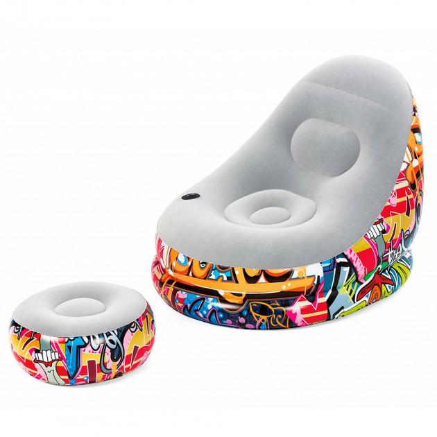 Надувной диван AIR SOFA | Надувное велюровое кресло с пуфиком Граффити