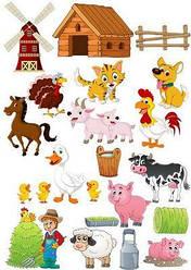 Вафельна картинка для кондитерских виробів Тваринки, (лист А4) 4