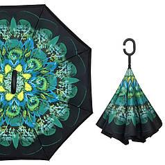 Зонт навпаки Up-Brella Зелений Павич зворотного складання розумний парасолька з малюнком