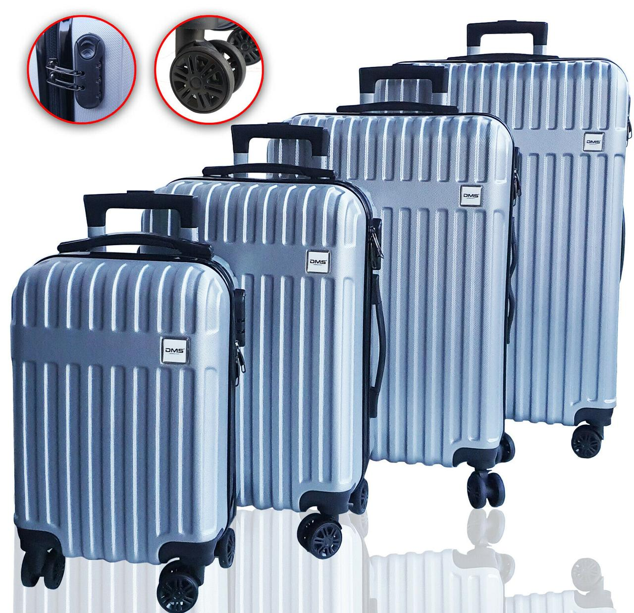 Чемоданы дорожные DMS с тележкой, комплект 4шт S-M-L-XL серий Silver
