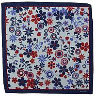 ⭐Бандана из хлопкаклассическая белая с сине-голубыми цветами Floret, фото 1