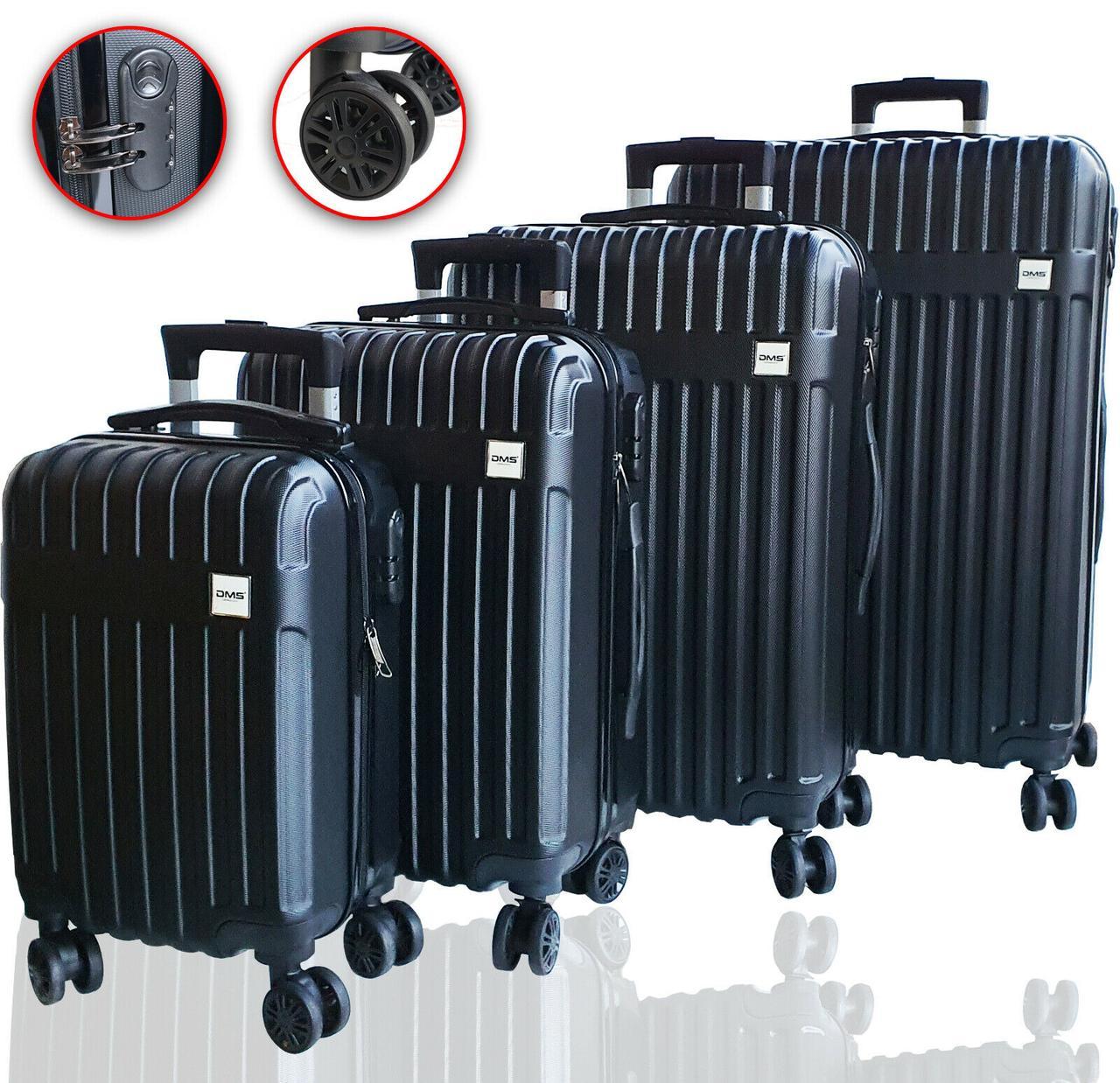 Чемоданы дорожные DMS с тележкой, комплект 4шт S-M-L-XL черный Black