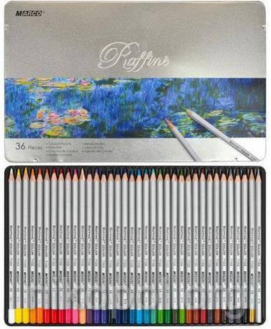 Карандаши цветные в металлическом пенале 36цв. Marco Raffine 7100-36TN, фото 2