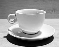 Чашка Фарфоровая Белая С Блюдцем 200мл (HR1308)