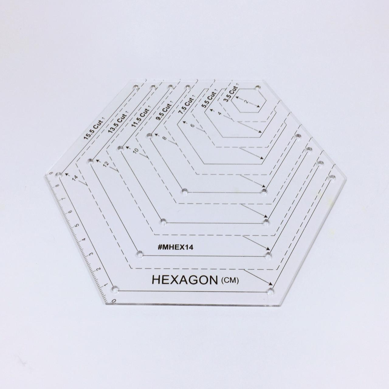 Лекало шестиугольник для пэчворка MHEX14