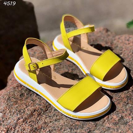 Женские сандалии желтые натуральная кожа летние яркие, фото 2