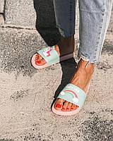 Резиновые шлёпанцы с единорогом флип флопы женские сланцы обувь для пляжа и бассейна резинові шльопанці