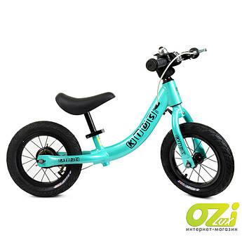 Детский велобег Profi Kids W1202-1 бирюзовый с надувными колесами