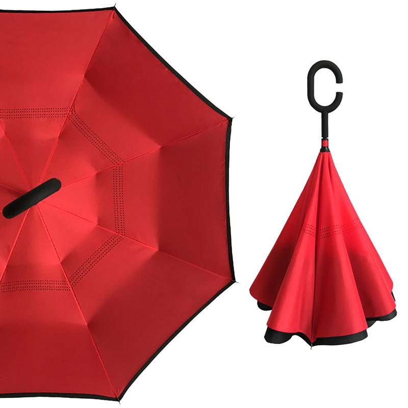 Зонт наоборот Up-Brella Красный обратного сложения брендовый для девушек Апбрела двойное складывание