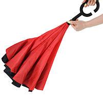 Зонт наоборот Up-Brella Красный обратного сложения брендовый для девушек Апбрела двойное складывание, фото 2
