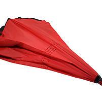 Зонт наоборот Up-Brella Красный обратного сложения брендовый для девушек Апбрела двойное складывание, фото 4