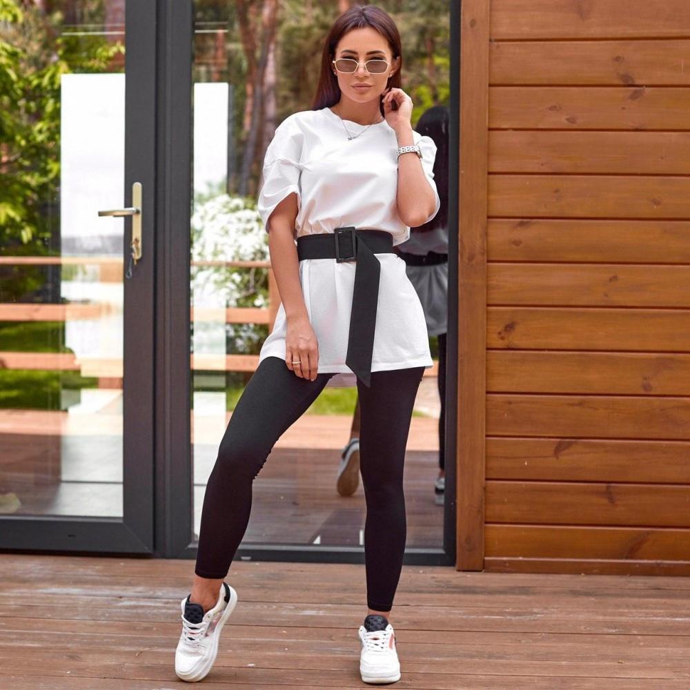 Жіночий спортивний костюм штани і футболка білий