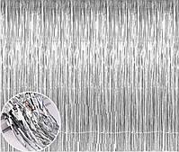 Шторка для фото зон  из фольги серебряная 1х2 м
