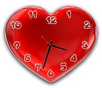 Дизайнерские часы настенные в подарок фигурные Erpol Сердце любви 30x36 см