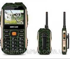 Кнопочный телефон защищенный с большим дисплеем и мощной батареей на 2 сим карты Grsed E8800 green РАЦИЯ