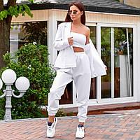 Женский спортивный костюм с классическим пиджаком белый, фото 1
