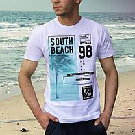 Светлая хлопковая летняя футболка отличного качества SOUTH BEACH FLORIDA очень мягкая, качество - супер!