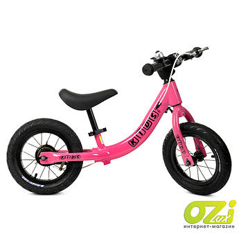 Детский велобег Profi Kids W1202-2 розовый с надувными колесами