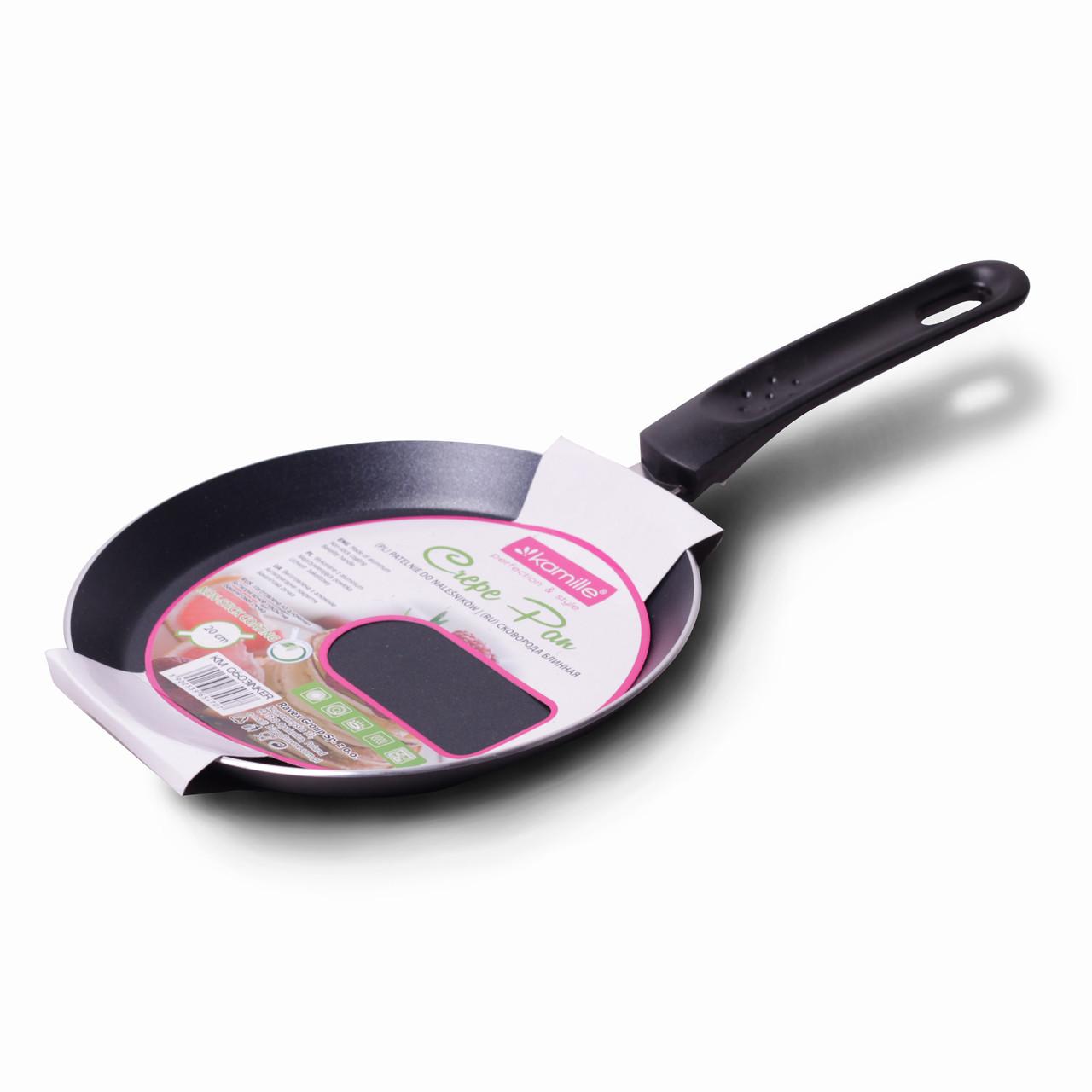 Сковорода блинная Kamille 20см с керамическим покрытием для индукции и газа KM-0603INKER