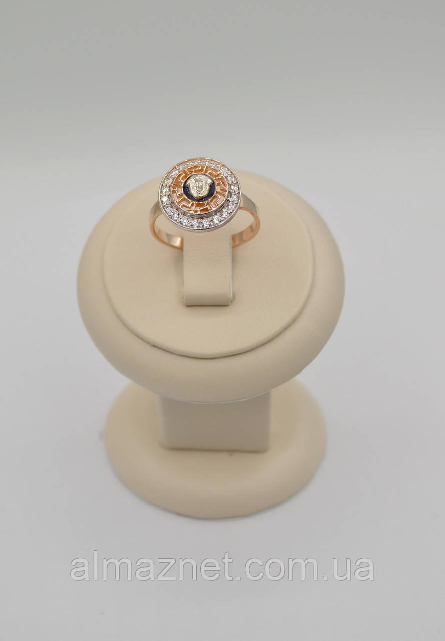 Золотое кольцо Версаче с эмалью