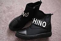 Женские ботинки сникерсы в стиле Moschino черные 39-40
