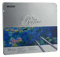 Карандаши цветные в металлическом пенале 24цв. Marco Raffine 7100-24TN