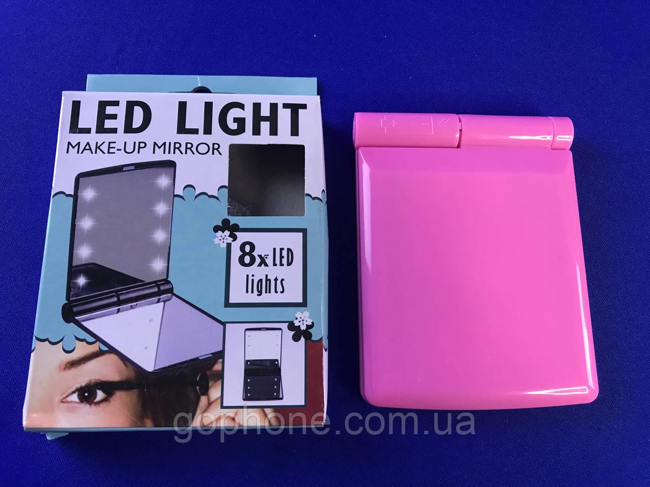 Зеркало с LED подсветкой розовое
