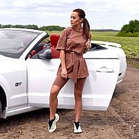 Женский спортивный костюм шорты-велосипедки и футболка коричневый, фото 1