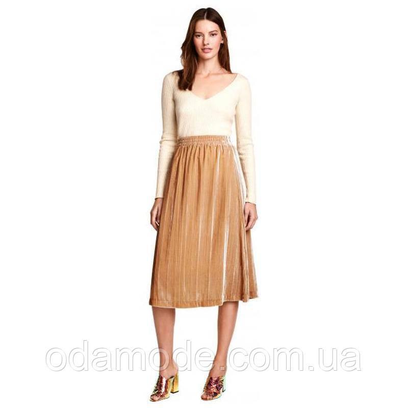 Женская юбка бархатная H&M бежевая
