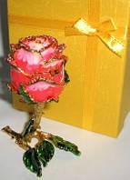 Оригинальный сувенир из Китая, шкатулка со стразами роза