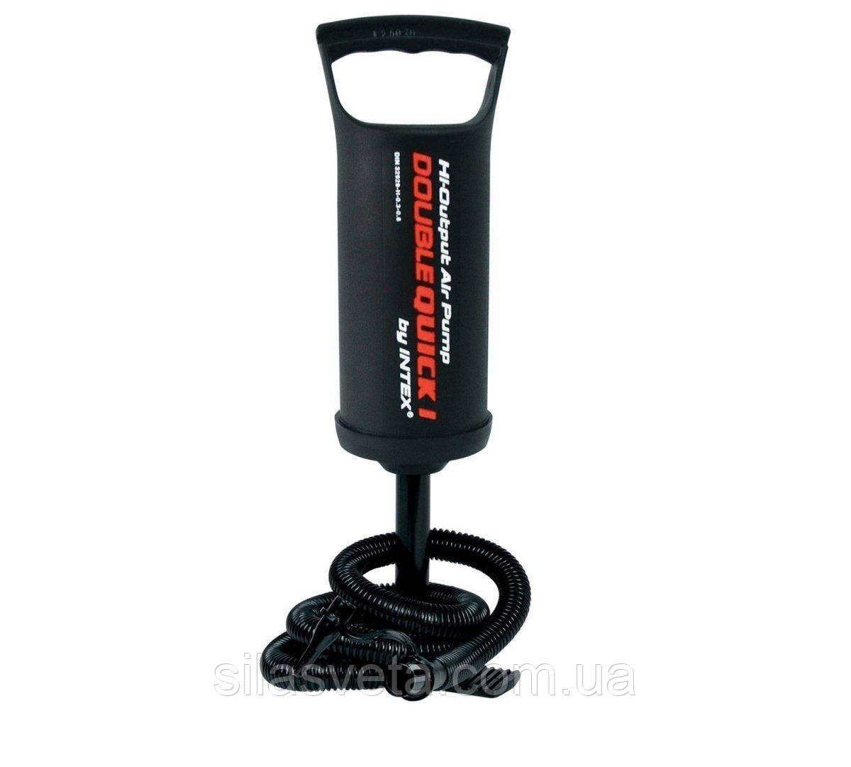 Ручной насос с тремя насадками, Intex 68612 Double Quick I Hand Pump, объем 0,9 л., высота 29 см.