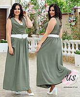 Женское батальное длинное летнее платье. 5 цветов!, фото 1
