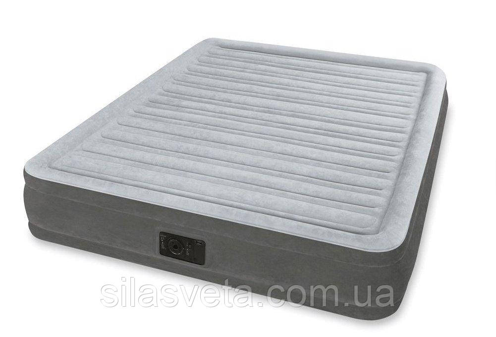 Двухспальная надувная кровать, Intex 67770 Comfort-Plush со встроенным электронасосом 152x203x32 см.
