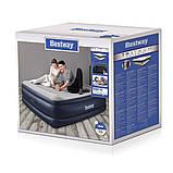 Двухспальная надувная кровать Bestway 67692 Tritech со встроенным электрическим насосом и фирменной сумкой для хранения 203 х 193 х 56 см Синяя, фото 4