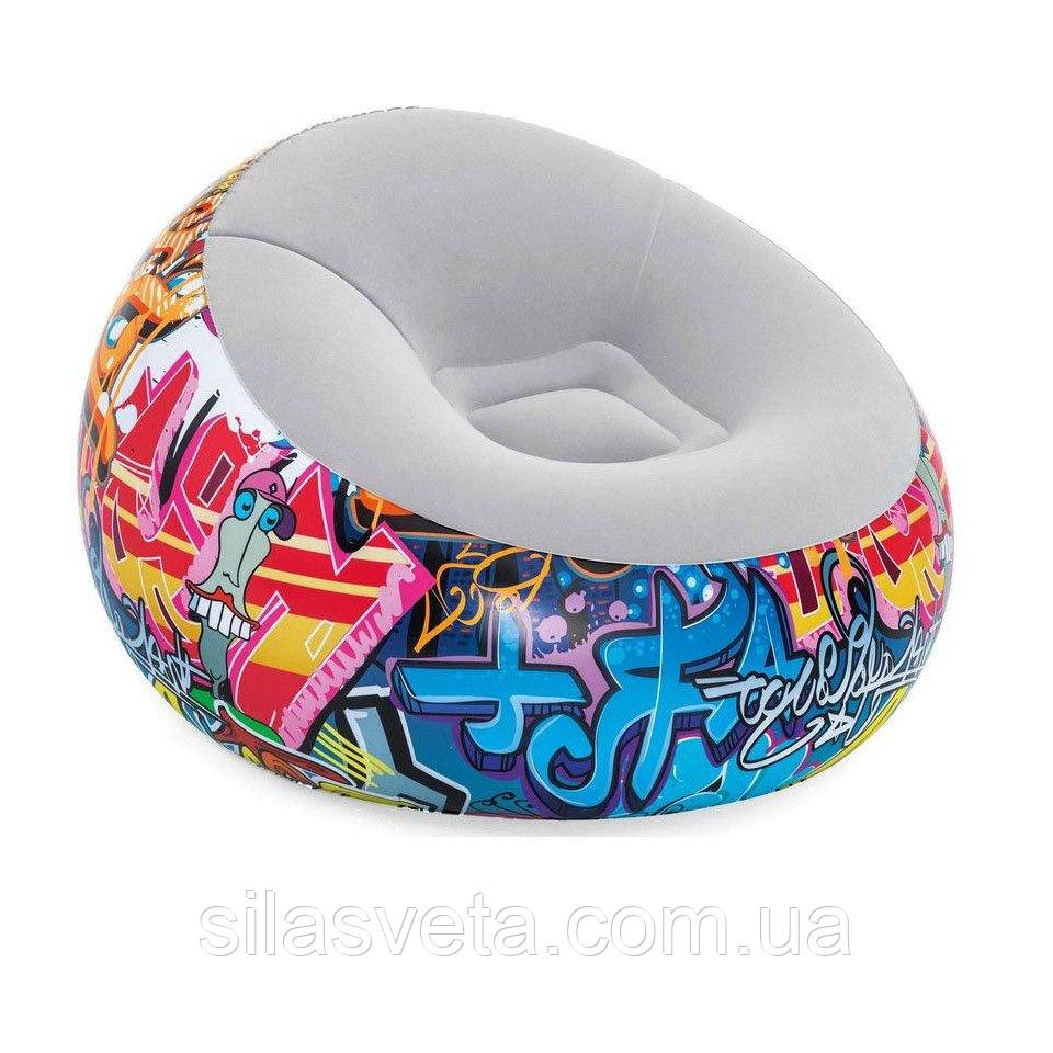 Крісло надувне, флокіроване, Bestway 75075 Comfort Cruiser Inflate-A-Chair (112х112х66 см.)