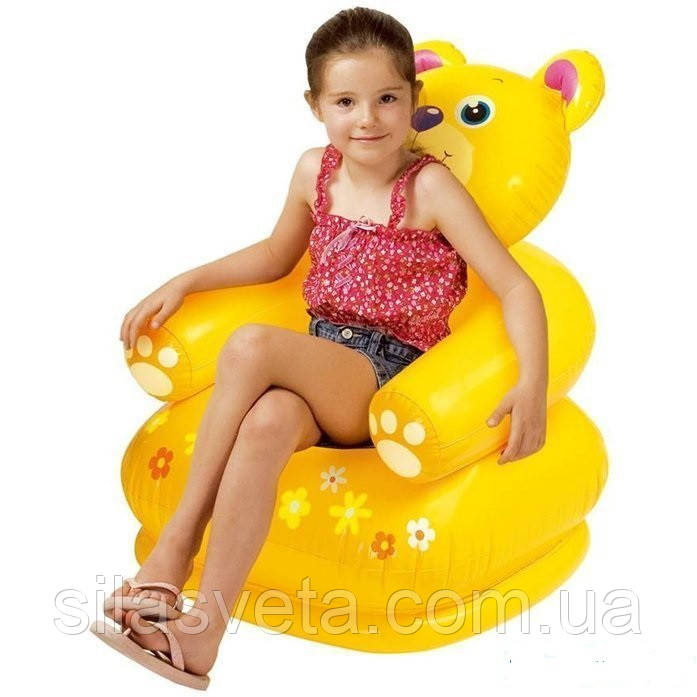 """Надувное детское кресло Intex 68556 Happy Animal """"Медвежонок"""" (64х65х74 см.)"""