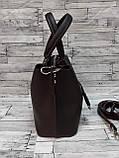 Стильная Женская сумка ZARA Зара из экокожи . Коричневый, фото 3