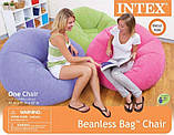 Классическое надувное флокированное кресло Intex 68569 Beanless Bag (107х104х69 см.), фото 6