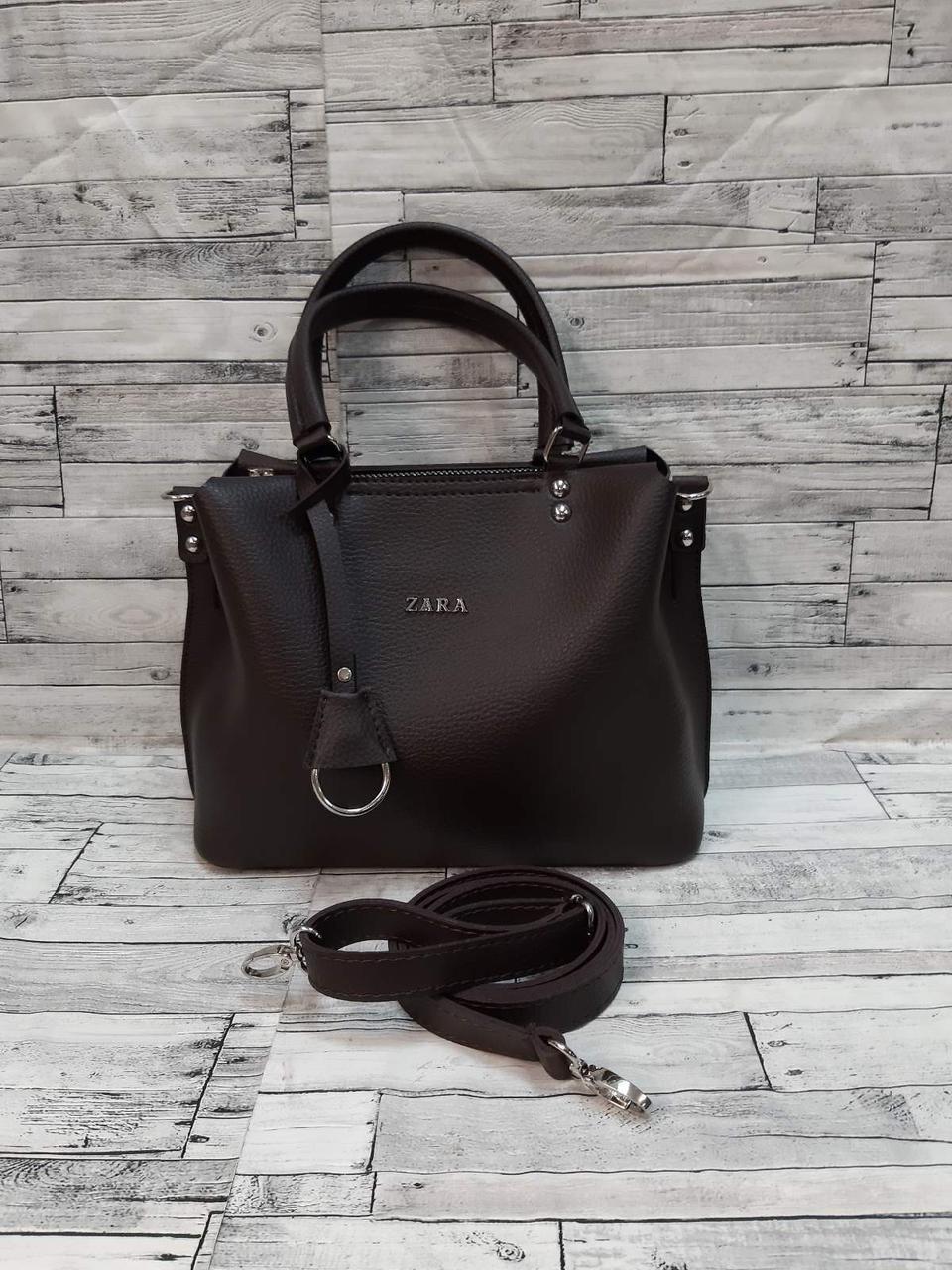 Стильная Женская сумка ZARA Зара из экокожи . Коричневый