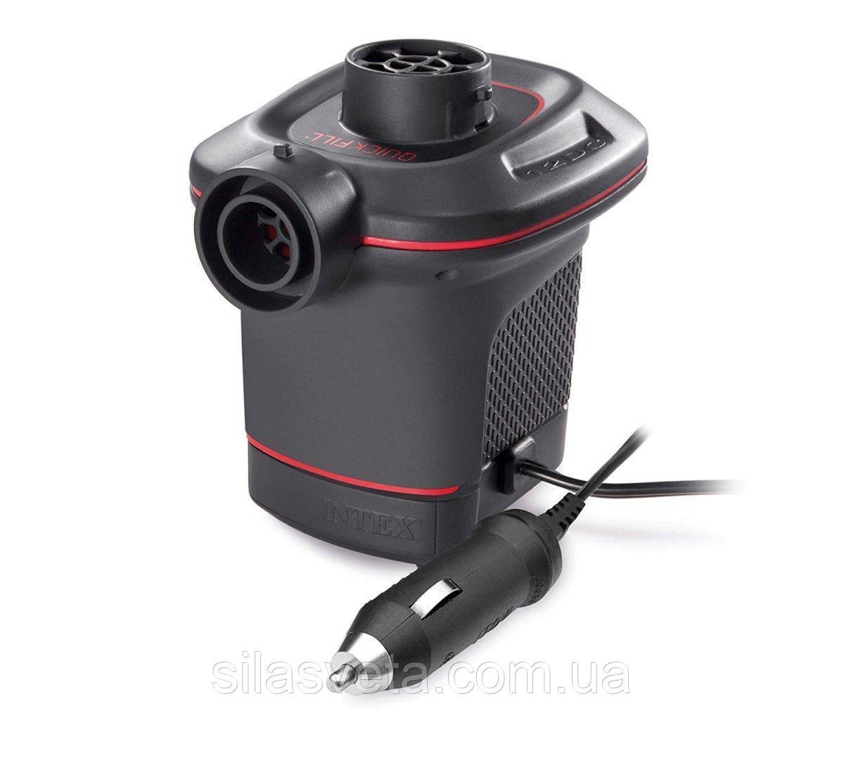 Электрический насос от прикуривателя 12V, Intex 66636 Quick-Fill с тремя насадками (600 л/мин)