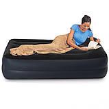 Надувная одноместная кровать со встроенным насом Intex 64122-3 (99х191х42 см) + подушка, наматрасник, фото 2